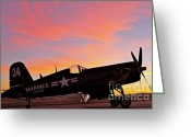 Racer Digital Art Greeting Cards - Corsair Sunset at Reno Greeting Card by Gus McCrea