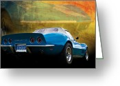Custom Chev Greeting Cards - Corvette Stingray Converitble Greeting Card by Stuart Row