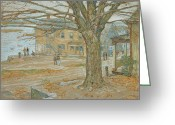 House Pastels Greeting Cards - Cos Cob in November Greeting Card by Childe Hassam