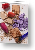 Broken Greeting Cards - Cosmetics Mess Greeting Card by Garry Gay