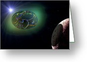 Outerspace Greeting Cards - Cosmic Egg Greeting Card by Steven Love
