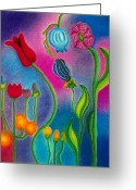 Tulips Pastels Greeting Cards - Cosmic Gargen Greeting Card by Christine Perry