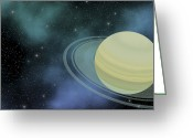 Science Fiction Digital Art Greeting Cards - Cosmic Image Of Our Ringed Planet Greeting Card by Corey Ford