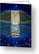Merlin Greeting Cards - Cosmic Wizard Reflection Greeting Card by Sue Halstenberg