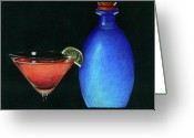 Martini Drawings Greeting Cards - Cosmo Greeting Card by Ashley Macinnis