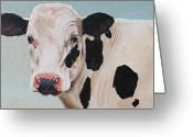 Black And White Barn Greeting Cards - Cosmoo Cow Greeting Card by Laura Carey