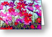 Swaying Greeting Cards - Cosmos Bouncing In The Breeze Greeting Card by Cheryl Whitehall