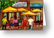 Montreal Street Life Greeting Cards - Cosmos  Fameux Restaurant On Sherbrooke Greeting Card by Carole Spandau