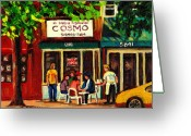 Resto Cafes Greeting Cards - Cosmos Famous Montreal Breakfast Restaurant Greeting Card by Carole Spandau