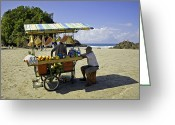 Watermelon Photo Greeting Cards - Costa Rica Vendor Greeting Card by Madeline Ellis