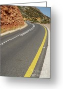 Double Yellow Line Greeting Cards - Costal road Greeting Card by Sami Sarkis