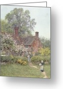 Friend Greeting Cards - Cottage at Chiddingfold Greeting Card by Helen Allingham