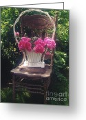 Pink Peonies Greeting Cards - Cottage Chic Garden Chair Basket of Peonies Greeting Card by Kathy Fornal
