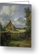 Fence Gate Greeting Cards - Cottage in a Cornfield Greeting Card by John Constable