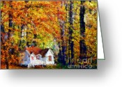 Yellow Trees Greeting Cards - Cottage in the Fall    Paint 2 Greeting Card by Cheryl Young