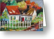 Chimney Pastels Greeting Cards - Cottage in the Sun Greeting Card by John  Williams