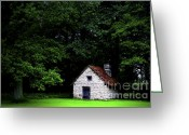 Cabin Window Greeting Cards - Cottage in the woods Greeting Card by Fabrizio Troiani