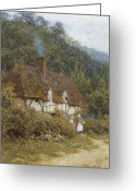 Gossiping Greeting Cards - Cottage near Witley Surrey Greeting Card by Helen Allingham