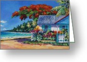 Bay Islands Painting Greeting Cards - Cottage on 7-Mile Beach Greeting Card by John Clark