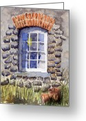 Cabin Window Painting Greeting Cards - Cottage Window Greeting Card by Mike Lester