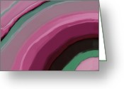 Curved Lines Greeting Cards - Cotton Candy Greeting Card by Bonnie Bruno