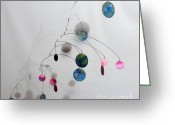 Kinetic Sculpture Greeting Cards - Cotton Candy Complexity Mobile Sculpture Greeting Card by Carolyn Weir