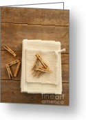 Household Greeting Cards - Cotton dish towel with clothes pins Greeting Card by Sandra Cunningham
