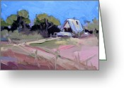 Country Dirt Roads Painting Greeting Cards - Cottonwood Barn Greeting Card by Cindy Carrillo