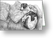 Pencil Drawing Greeting Cards - Couch Potato Greyhound Dog Print Greeting Card by Kelli Swan