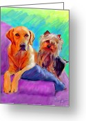 Yellow Dog Digital Art Greeting Cards - Couch Potatoes Greeting Card by Karen Derrico