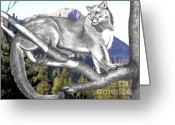 Photo Manipulation Drawings Greeting Cards - Cougar Mountain Greeting Card by Russ  Smith