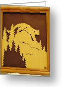 Scroll Saw Sculpture Greeting Cards - Cougar on Prowl Greeting Card by Russell Ellingsworth