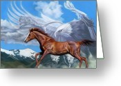 Horses Pastels Greeting Cards - Cougar Spirit Dance Greeting Card by Kim McElroy
