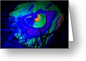 Light Sculpture Greeting Cards - Coulored Eye By Nite Greeting Card by Marino Ceccarelli Sculptor