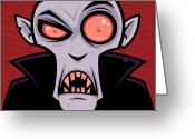 Monster Art Greeting Cards - Count Dracula Greeting Card by John Schwegel