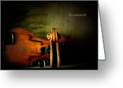Violin Digital Art Greeting Cards - Counterpoint Greeting Card by Steven  Digman