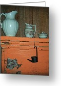 Oil Lamp Greeting Cards - Country At Its Best Greeting Card by Kathy Clark