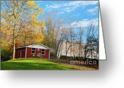 Autumn In The Country Photo Greeting Cards - Country Barn with tractor Greeting Card by Crystal Wightman