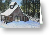 Old Cabins Greeting Cards - Country Cabin Greeting Card by Reb Frost