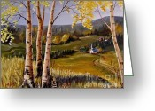Autumn In The Country Painting Greeting Cards - Country Church Greeting Card by Marilyn Smith