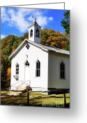 Rail Fence Greeting Cards - Country Church Greeting Card by Thomas R Fletcher