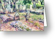 Churchyard Greeting Cards - Country Churchyard Greeting Card by Harry H Hicklin