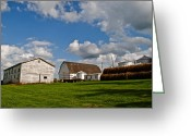 Amish Family Greeting Cards - Country Farm Greeting Card by Robert Harmon