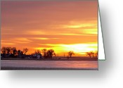 Sunset Wall Art Greeting Cards - Country Farm Union Reservoir Colorful Sunrise Longmont Colorado Greeting Card by James Bo Insogna