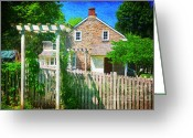 Old Wooden Fence Greeting Cards - Country Garden Greeting Card by Paul Ward