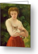 Corsage Greeting Cards - Country Girl and her Kitten Greeting Card by Charles Landelle