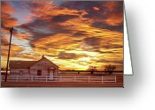 Sunset Wall Art Greeting Cards - Country House Sunset Longmont Colorado Boulder County Greeting Card by James Bo Insogna