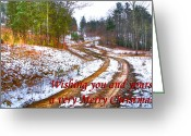 Winter Road Greeting Cards - Country Lane Holiday Card Greeting Card by Debra and Dave Vanderlaan