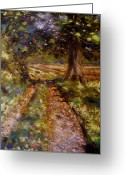Grass Pastels Greeting Cards - Country Lane Greeting Card by John  Nolan
