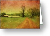 Layered Textures Greeting Cards - Country Living - Bayonet Farm Greeting Card by Angie McKenzie